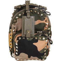 Valentino Garavani Backpacks ($1,085) ❤ liked on Polyvore featuring bags, backpacks, black, multicolor bag, day pack backpack, black rucksack, knapsack bags and black top handle bag