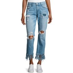 3x1 WM3 Cropped Straight-Leg Fringe Jeans (€310) ❤ liked on Polyvore featuring jeans, light blue, fringed-hem jeans, mid rise jeans, torn jeans, distressed jeans and slim fit jeans