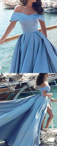 prom dresses, long prom dresses, 2018 prom dresses, off the shoulder blue long prom dresses with slit