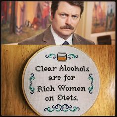 And it's only fitting to pair Karen Walker with her real life hubby Nick Offerman aka Ron fucking Swanson. He has less favorable opinions of vodka... Favoring the old standby, scotch. #subversivecrossstitch #crossstitch #xstitch #stephxstitch #crossstitchersofinstagram #crossstitching #crossstitchpattern #ronswanson #parksandrec #clearalcoholsareforrichwomenondiets #handmade #hoopart #barart #mancave