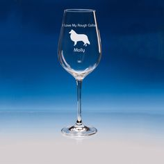 Rough Collie Dog Lover Gift Engraved Personalised Fine Quality Wine Glass - Your Name and Message - Birthday Gift - Mother's Day Gift