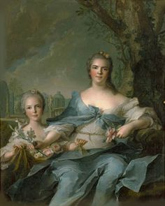 Élisabeth with her eldest daughter Isabella in Fontainebleau, by Jean-Marc Nattier