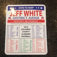 Campaign Magnet with Football Schedule