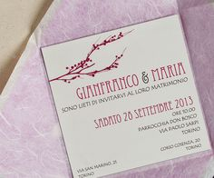 #Crush #Favini #Wedding Invitation Bianco Sposi - legami ramo - www.biancosposi.net- Share it on Twitter https://twitter.com/favini_en https://twitter.com/favini_it