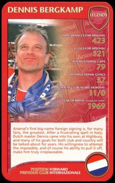 Dennis #bergkamp - arsenal 2007 - top #trumps card #(c125),  View more on the LINK: http://www.zeppy.io/product/gb/2/301878991979/