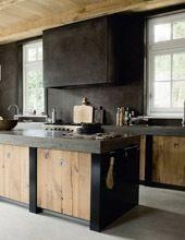 voor kleurencombi: beton, hout, zwart