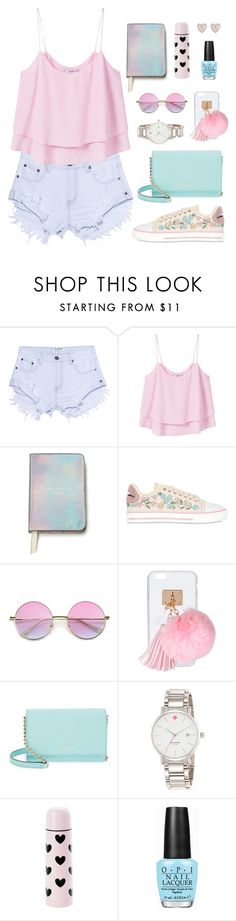 """Sweet summertime"" by celida-loves-pink ❤ liked on Polyvore featuring One Teaspoon, MANGO, Kate Spade, RED Valentino, Ashlyn'd, OPI and New Look"
