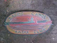 "Hawaiian ""Racing Canoe, Kayak Club"" Weathered Sign 30"" Outrigger Canoe, Canoe And Kayak, Wooden Signs, Handicraft, Kayaking, Hawaiian, Racing, Club, Handmade"