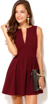Love this: Deep Cut Sleeveless Mini Dress