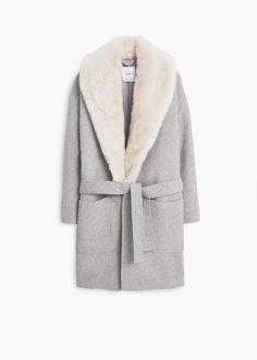 Abrigo largo lana - Abrigos de Mujer | MANGO