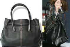 Tod's Lady D bag in black leather with white contrast stitching, double handles and metal feet