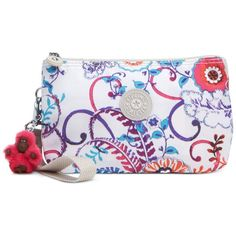 Kipling Creativity Xl Wristlet ($42) ❤ liked on Polyvore featuring bags, handbags, clutches, summer dream, wristlet purse, wristlet handbags, summer purses, summer handbags and kipling