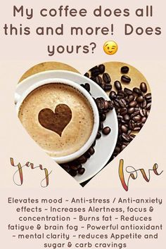 My coffee does all this and MORE! Does your coffee do this? I've been drinking this coffee for 4 months and I truly feel amazing, you know you want to feel amazing too! Happy Coffee, Coffee Is Life, Coffee Love, Coffee Coffee, Happy Cup, Coffee Talk, Morning Coffee, Happy Life, Coffee Shop