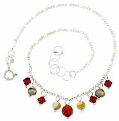 Sterling Silver Anklet Natural Citrine Beads Gold Pearl Brown Bicone Crystals, adjustable 9 - 10 inch Sabrina Silver. $15.75