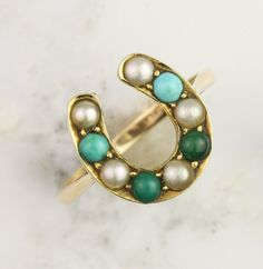 Antique Turquoise and Pearl Horseshoe Ring - c. 1880-1900 - 9k yellow gold, natural turquoise, seed pearls - Made in England A gorgeous