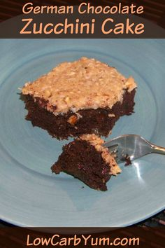 A delicious sugar free and low carb German chocolate zucchini cake. This zucchini and coconut flour based chocolate cake is super moist and gluten free. LCHF Keto Atkins THM Banting Recipe