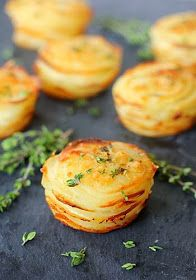 The Galley Gourmet: Potato Stacks with Garlic and Fresh Thyme. What a pretty, and innovative side dish. SO YUMMY! Think Food, I Love Food, Good Food, Yummy Food, Side Dish Recipes, Vegetable Recipes, Vegetarian Recipes, Cooking Recipes, Muffin Pan Recipes