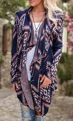Cardigan Love! Pink and Blue Retro Style Collarless Long Sleeve Loose-Fitting Ethnic Print Women's Cardigan #Fall #Fashion #Look #Ideas #Fashion