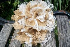 Burlap  Lace Pom Pom Wedding Decor, Rustic Country ...