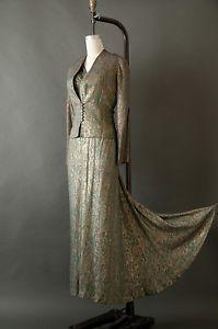 EXCEPTIONAL RARE Vtg 30s ART DECO Gold Lame Dress Evening GOWN & JACKET