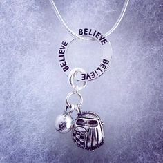 Sporty Girl Softball Necklace Believe by SportyGirlBoutique
