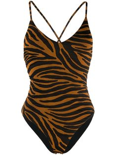 Shop online brown Mara Hoffman Emma zebra stripe swimsuit as well as new season, new arrivals daily. Girls Football Boots, Surfer Girl Style, Striped Swimsuit, Ethical Brands, Tiger Stripes, Mara Hoffman, Surf Style, Surf Girls, Bikini Girls
