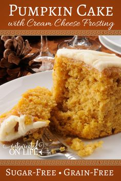 Pumpkin Cake with Cream Cheese Frosting-sugar free/gluten free. Can do this after candida diet!! Only things not on candida diet are the pumpkin and cream cheese