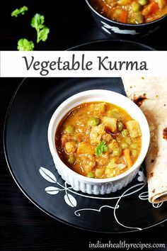 vegetable kurma is a dish made of mix vegetables & spices. This hotel style veg kurma is one very flavorful, delicious & goes great with rice, roti or phulka Indian Chicken Recipes, Goan Recipes, Lentil Recipes, Curry Recipes, Indian Food Recipes, Healthy Recipes, Veg Kurma Recipe, Vegetable Korma Recipe, Vegetable Curry