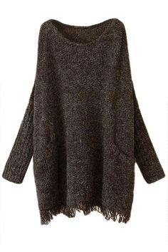 Black Ladies Fringe Batwing Sleeve Oversized Pullover Sweater
