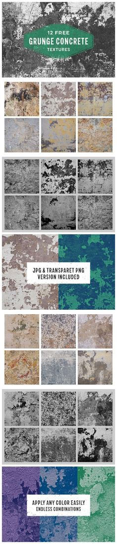 Free set of 12 concrete grunge textures in JPG and PNG format. Perfect for giving your designs some spice and a distressed feel. Concrete Stone, Concrete Texture, Retro Logos, Your Design, Vintage Inspired, City Photo, Grunge, How To Apply, Graphic Design