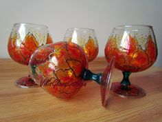 """Cognac glasses """"Fiery Poinsettia"""" hand-painted set of four"""