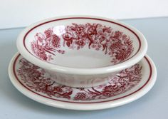 Vintage Restaurant Ware Berry Bowl and Bread Plate Red Floral Pattern Shenango China by LittleShopofWhatNots on Etsy