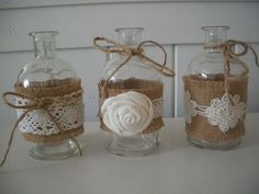 H-candles or white lights could go inside the glasses, love these Burlap Projects, Burlap Crafts, Craft Projects, Paper Crafts, Diy Crafts, Burlap Baby, Golden Anniversary, Altered Bottles, Candels