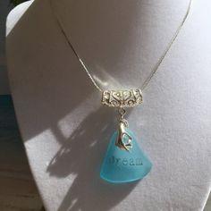 Dream sea glass necklace ~ bohemian beach glass jewelry ~ recycled Seaglass ~ bohochic inspirational jewelry ~ drilled Aqua sea glass ~gift