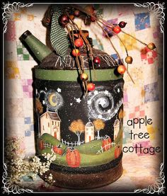 hand painted kerosene can...love this prim, whimsical design!!!