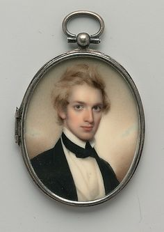 A miniature of Henry Peters Gray by Henry Colton Shumway (American 1807-1884). This guy looks very Now.