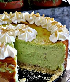 Pistachio Cheesecake. Yes! A pistachio cheesecake! Beautiful green color. Perfect for St. Patrick's Day. This cheesecake is very creamy and doesn't have the traditional graham cracker crust it has an almond crust. Very tasty!