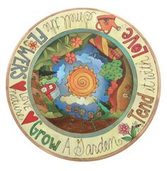 Lazy Susan – Lovely garden themed lazy susan with rolling rural landscape and inspirational phrases Sticks Furniture, Art Furniture, Bunny Coloring Pages, Sunrise Landscape, Clock Painting, Landscape Art Quilts, Stick Art, Hand Painted Furniture, Painted Chairs