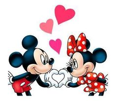 Mickey & Minnie making a heart sign with their hands knowing they're the ones.
