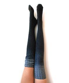 Look at this #zulilyfind! Marled Black Dip-Dye Thigh-High Socks #zulilyfinds