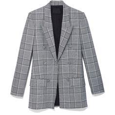Alexander Wang Black & White Plaid & Leather Blazer (80.805 RUB) ❤ liked on Polyvore featuring outerwear, jackets, blazers, black and white jacket, tartan blazer, black and white blazer, blazer jacket and leather blazers