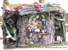 Woodland Fairy Houses Garden Fairy House Cottages Handcrafted Fairy Funiture Sculpted One of a Kind Whimsical Between The Weeds Laurie Rohner - Laurie Rohner Studio