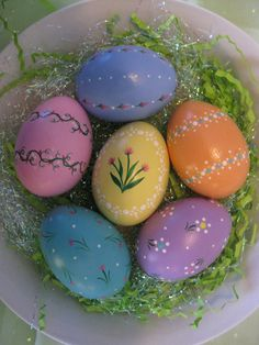 Hand-Painted Ceramic Easter Eggs (Set M1) on Etsy, $15.00