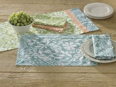 Subtle, Muted Batik Placemats by Park Designs, 13x19, Reversible, available in 3 Colors. #SimplyAbundant