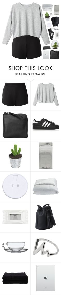 """WHEN THE TIMES ARE HARD ♡"" by feels-like-snow-in-september ❤ liked on Polyvore featuring T By Alexander Wang, Monki, Xenab Lone, adidas Originals, Frette, Stila, Home Source International, melsunicorns and gottatagrandomn3ss"