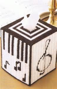 MUSIC LOVERS - Black & White Tissue Box Cover - Plastic Canvas PATTERN
