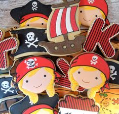 Handmade and Decorated Pirate Girl Sugar Cookies by FlourishCakes