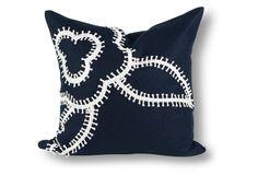 Fleur 21x21 Linen Pillow, Navy