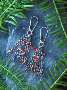 tassel chain earrings chic tassel chain by HandmadeEarringsUk