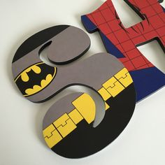 Custom Decorated Wooden Letters Super Heroes by NiftyNancyDesigns Wooden Letters, Wooden Signs, Batman Party Decorations, Superhero Letters, Batman Room, Superman And Spiderman, Letter A Crafts, Monogram Design, 1 Year